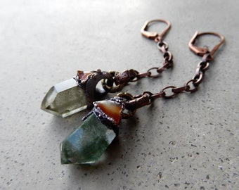 Bliss Dangles with Chlorite Inclusion Quartz and Carnelian, Earrings, Earthy, Nature Spirits, Aura Cleansing, Anti-Cancerous, Vitality, Boho