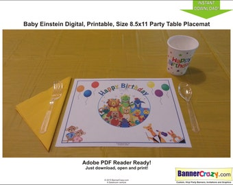 Baby Einstein Birthday Party Placemat Table Mat INSTANT DOWNLOAD PDF Birthday Party Ideas Printable Baby Einstein Decor