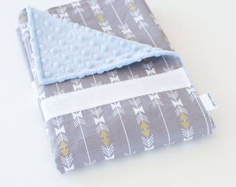 Baby Blanket, Simple Patchwork Blanket, Four Corners Grey Stripe Sparkle