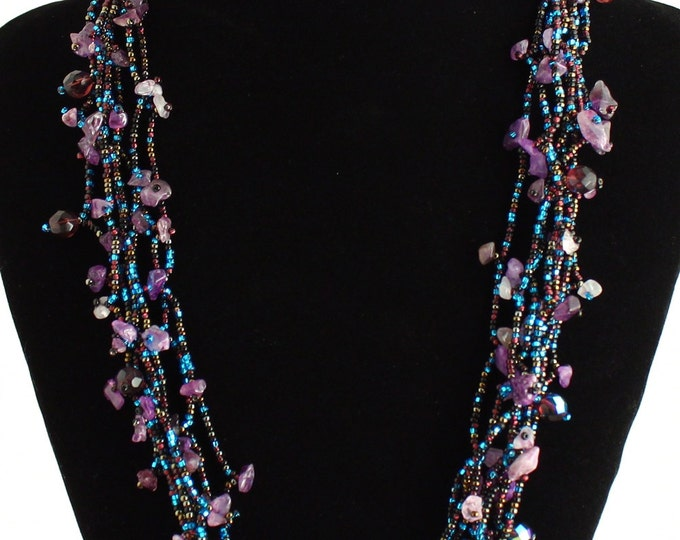 Hand beaded purple amethyst turquoise multistrand necklace, magnetic clasp, 24 inches desert sunset #106