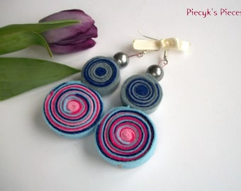 Grey Blue Pink Felt Earrings With Pearly Beads Ooak