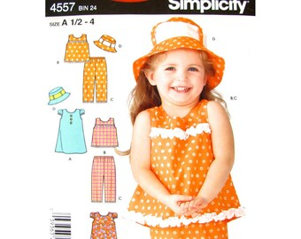 Girls Sewing Pattern Puff Sleeve Dress, Sleeveless Top, Pants, Brimmed Hat Simplicity 4557 Sundress Toddler Size 1/2 1 2 3 4 UNCUT