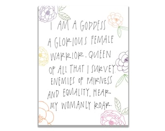Parks and Recreation Pawnee Goddess Galentine's Day Print Leslie Knope Card Parks and Rec
