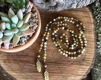 Beaded lariat,matte jade lariat,feather charm lariat,feather lariat,boho lariat,beaded wrap necklace,jade necklace