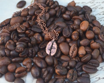 COFFEE BEAN necklace, made to ORDER, real coffee in copper, electroformed pendant, gift for coffee lover, organic necklace, coffee jewelry