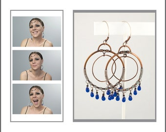 Hoop Earrings with Blue Glass Beaded Fringe, Copper, Sterling Silver, Original Design, Artisan Jewelry, Hand Forged Metal
