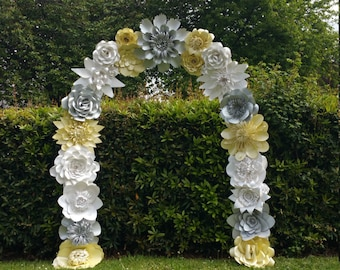 Wedding arch flower etsy paper flower arch wedding arch flower arch wedding decoration venue dcor custom order silver ivory dolomite junglespirit Gallery