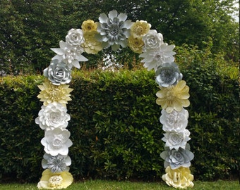 Wedding arch flower etsy paper flower arch wedding arch flower arch wedding decoration venue dcor custom order silver ivory dolomite junglespirit Choice Image