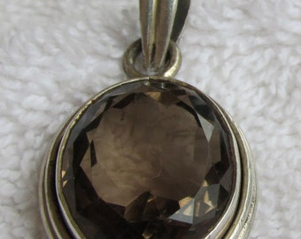 Sterling Silver Faceted Topaz Pendant
