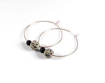 LEO Dalmatian Jasper hoop earrings