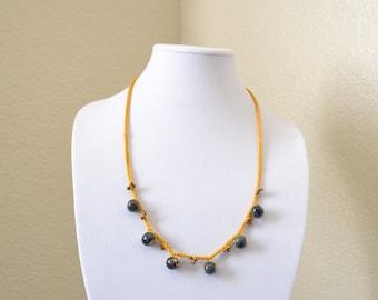 Mustard crochet statement necklace