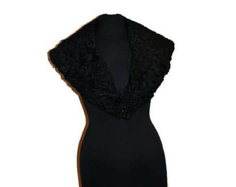 Vintage Black Persian Lamb Collar // Astrakhan Fur Coat Collar 1950's // Fur Wrap