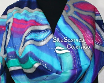 Turquoise, Blue, Pink Hand Painted Silk Scarf EMERALD RIVER-2. Size X-Large 22x72. Bridesmaid Gift. Birthday Gift. Anniversary Gift