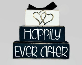 Wedding Happily Ever After Wedding Gift WoodenBlock Shelf Sitter Stack