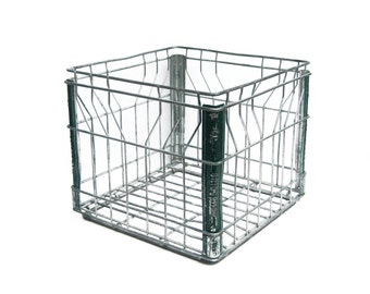 "Vintage ""Bridgeman"" Metal Wire Milk Crate Square Basket"