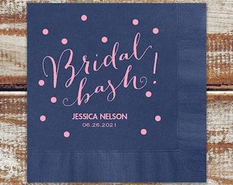 Personalized Bridal Shower Napkins, Bridal Shower Beverage Napkins, Cocktail Napkins For Bridal Shower, Shiny Metallic Pink Foil Imprint