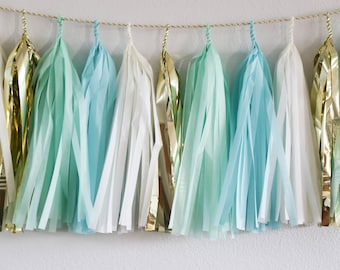 Mint, Aqua & Gold tassel garland // wedding and party decoration