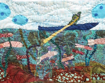 """Quilt Art wall. Mixed media wall hanging. fabric ccollage. Textile art Man in a Dory    9.5""""x14"""""""