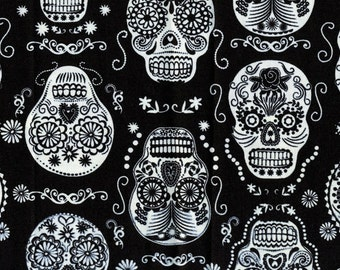 Glow in the Dark Black Skulls Fabric from Timeless Treasures Fabrics - Listed by the Half Yard