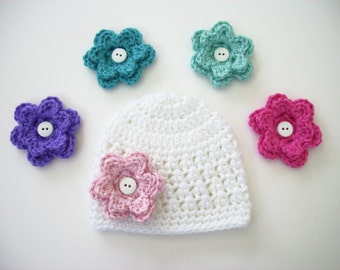 Crochet Baby Hat, Choose 5 Flowers, Newborn Hat, Baby Girl Hat, Baby Shower Gift, Newborn Photo Prop, Toddler Girl Hat, Baby Winter Hat