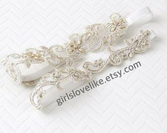Light Gold Beaded  Lace Wedding Garter Set, Champagne Bridal Garter, Keesake Garter, Toss Garter, GT-21