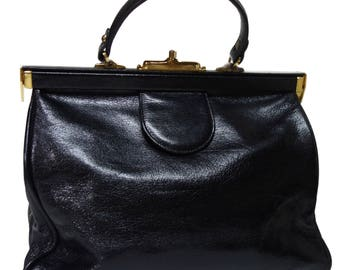 BON GOUT Vintage Large Black Leather Handbag