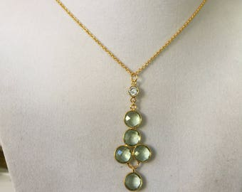 Green Amethyst Gold Bezel Set Necklace