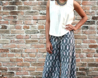Grey Palazzo Wide Leg Pants: Handwoven Cotton, Eco Dyes & Fair Trade