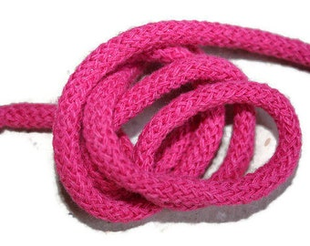 5 mm PINK Cotton Rope = 5 Yards = 4.57 Meters of Elegant Cotton Braided Cord Bulky Yarn Super Bulky Yarn Macrame Cotton Cord Knit Rugs