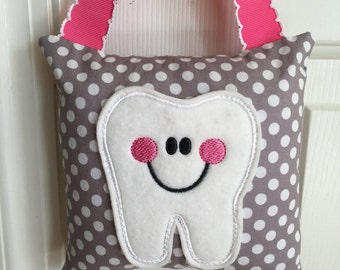 Tooth Fairy Pillow- Grey with White Polka Dot and Pink Ribbon - Kids Pillow - Kids Gift