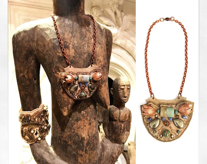 Featured listing image: The MINI SHIELD NECKLACE by Gilded-Mane: Rose Gold Brass Tulips, African Turquoise, Pyrite, and Sodalite Beads on Taupe Leather, Small