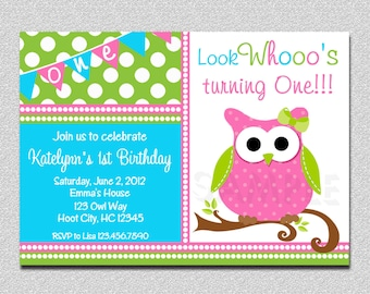 Owl Birthday Invitation , Owl Birthday Party Invitation Printable by The Trendy Butterfly