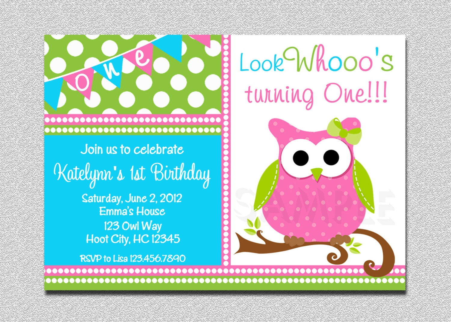 Owl Birthday Invitation Owl Birthday Party Invitation