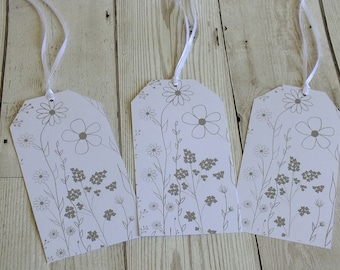 Wildflower Set of Three Gift Tags - Screenprinted, Giftwrap, Stationary, Floral, Gifting