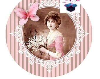Pink 1 14 mm theme vintage domed glass cabochon