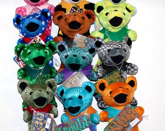 Grateful Dead 3rd generation Liquid Blue plush bear, hippie, deadhead, haight ashbury, esau, blues man, foolish heart, uncle sam
