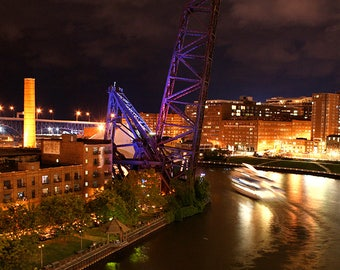 Cleveland Skyline At Night Cuyahoga River Photo Print