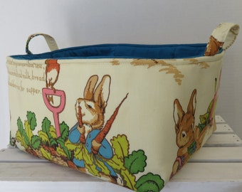 Peter Rabbit Fabric - Vintage Beatrix Potter Fabric - XLarge Diaper Caddy -  Storage Bin Basket Container - Choose Inside/ Lining Fabric