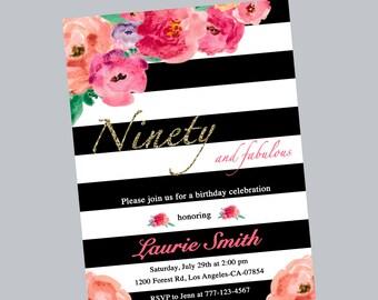 90th birthday invitation, ninety birthday invite, floral 90th birthday invitation, black and white invitation, flower birthday invite