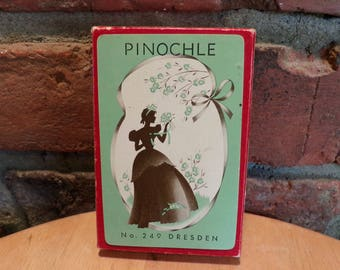 Playing Cards Vintage Pinochle #249 Dresden Woman silhouette, 1940's 1950's playing cards, Vintage playing cards