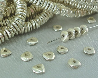 40 Silver plated Brass Chip 6mm Spacer Disk Heishi Disc Flat Nugget Metal Beads Saucer