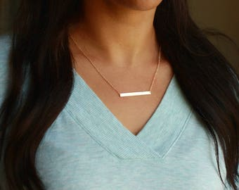 Personalized Bar Necklace   Gold Bar Necklace   Personalized Gold Bar Necklace   Engraved Gold Bar Necklace   Simple Gold Necklace, Name Bar