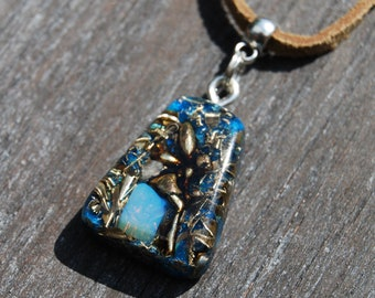 Fairy sitting on Opalite Orgonite® Pendant Necklace