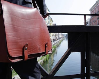 LEATHER MESSENGER BAG, red - Brown briefcase, Leather Satchel, made in italy