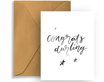 """Printable Greeting Card """"Congrats Darling"""" Hand Lettering Typography Birthday Celebration Congratulations"""