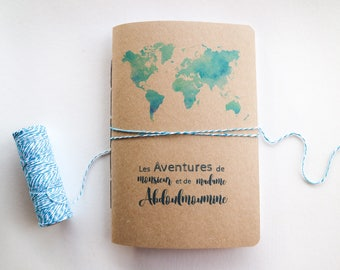 Personalized Travel Journal // Travel Journal with Watercolour Design and Custom Map and Name // Custom Couples Gift // Travellers Gift Idea