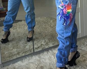 LAVENDER GLORY Unicorn Pegasus Jeans hand painted high waisted 80s mom jeans Vintage Levis 560 W30 L32