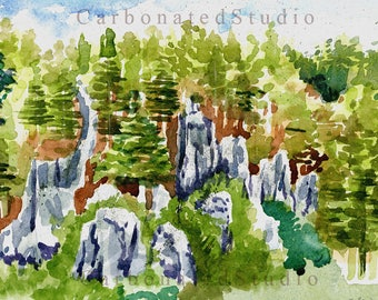 """Reprinted watercolor painting: """"Sagada, Philippines"""".  4""""X 6 1/4"""" blank folded card and downloadable artwork available"""