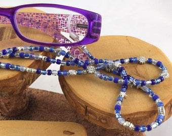Shaded Sapphire brilliant blue eyeglass sunglass handcrafted beaded chain never lose your glasses again!