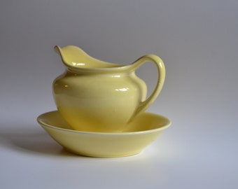 Vintage Yellow Creamer with Saucer - Universal Cambridge Vintage Pottery - Yellow Creamer - Yellow Kitchen Decor